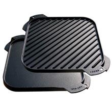 LODGE  LSRG3 煎烤盘 铸铁 方形 双面烧烤设计 10.5英寸